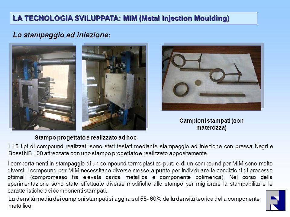 Lo stampaggio ad iniezione: LA TECNOLOGIA SVILUPPATA: MIM (Metal Injection Moulding). Stampo progettato e realizzato ad hoc Campioni stampati (con mat