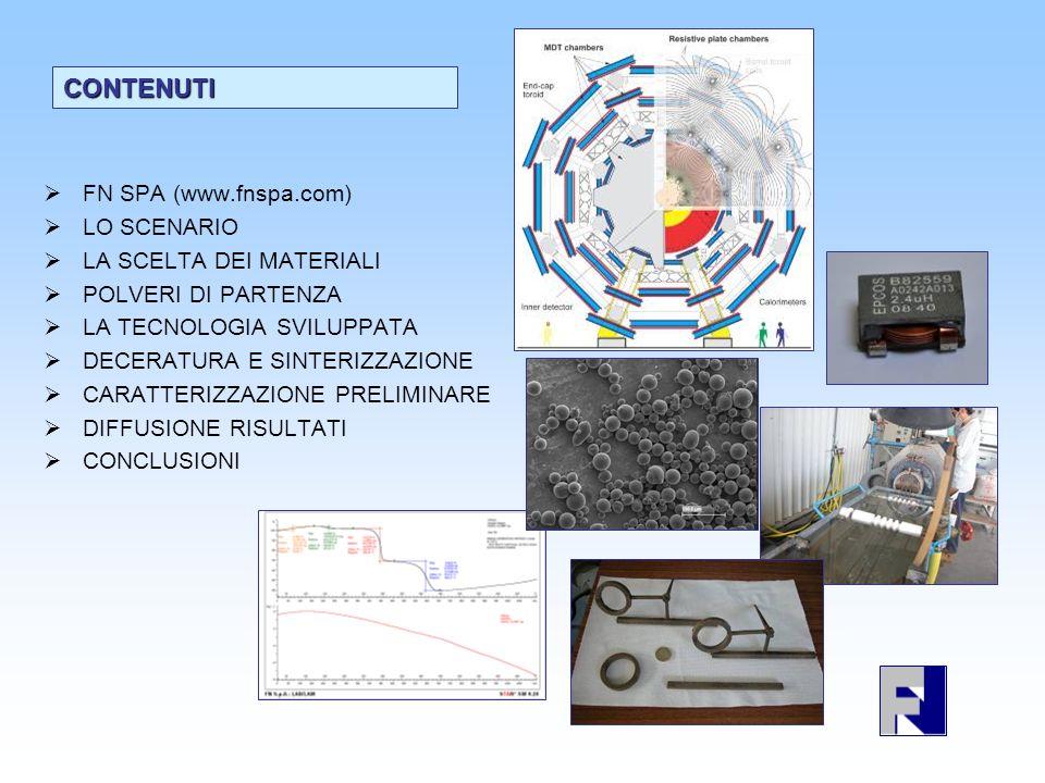 Identificazione lotto compound Tipo di polvere metallica Tipo di legante organico EstrudibilitàStampaggioTrattamenti termici Esito dopo trattamenti termici FESI 1Hoganas1Ok (acqua)Stampo pilota, DiscretoOxNon ok FESI 2Hoganas1Ok (acqua)DiscretoOxNon ok FESI 3Hoganas1Ok (acqua)DiscretoOxNon ok FESI 4Hoganas2Ok (acqua)DiscretoOxNon ok FESI 5Hoganas2Ok (acqua)Stampo toroidale, Discreto Ox e H 2 Non mantiene la forma FESI 6Miscela FN2Ok (acqua)Stampo toroidale, Discreto Ox e H 2 Mantiene la forma ma non è densificato bene FESI 7Miscela FN3Ok (acqua)Stampo toroidale modificato, Discreto OxNon ancora ok FESI 8Miscela FN4noProva di stampaggio diretto, non ok no FESI 9Solo Fe5Ok (no acqua)DiscretoOxNon ancora ok FESI 10Miscela FN6Ok (no acqua)Altre modifiche stampo, Ok,Ox, Ar, H 2 Campione un po deformato ma misurabile, densità migliorata ma non ancora in specifica FESI 11Hoganas6Ok (no acqua)Problemi nel riempimento dello stampo H2H2 Non mantiene la forma FESI 12Hoganas6Ok (no acqua)Problemi nel riempimento dello stampo no FESI 13Hoganas7Ok (no acqua)buonoOx, azoto (deceratura) Non mantiene la forma FESI 14Misto7Ok (no acqua)buonoAr, Ox, azoto (deceratura) In corso FESI 15Miscela FN7Ok (no acqua)buonoAr, azotoIn corso