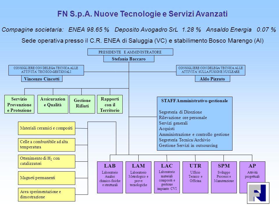 FN S.p.A. Nuove Tecnologie e Servizi Avanzati Sede operativa presso il C.R. ENEA di Saluggia (VC) e stabilimento Bosco Marengo (Al) PRESIDENTE E AMMIN