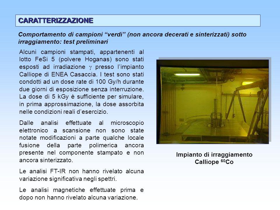 CARATTERIZZAZIONE Alcuni campioni stampati, appartenenti al lotto FeSi 5 (polvere Hoganas) sono stati esposti ad irradiazione presso limpianto Calliop