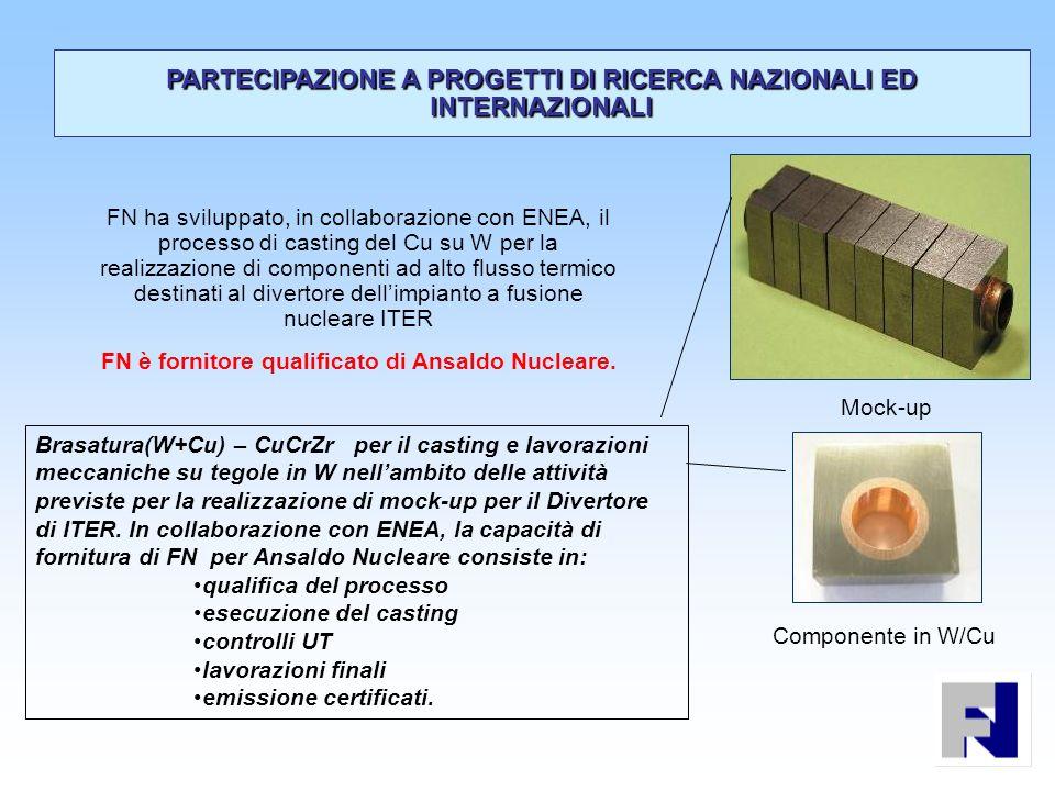 Componente in W/Cu Mock-up FN ha sviluppato, in collaborazione con ENEA, il processo di casting del Cu su W per la realizzazione di componenti ad alto