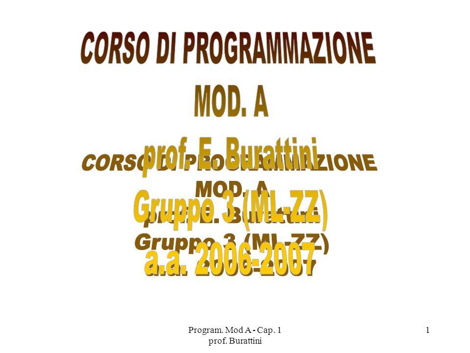 Program. Mod A - Cap. 1 prof. Burattini 1