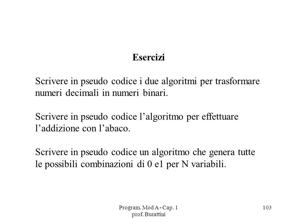 Program. Mod A - Cap. 1 prof. Burattini 103 Esercizi Scrivere in pseudo codice i due algoritmi per trasformare numeri decimali in numeri binari. Scriv