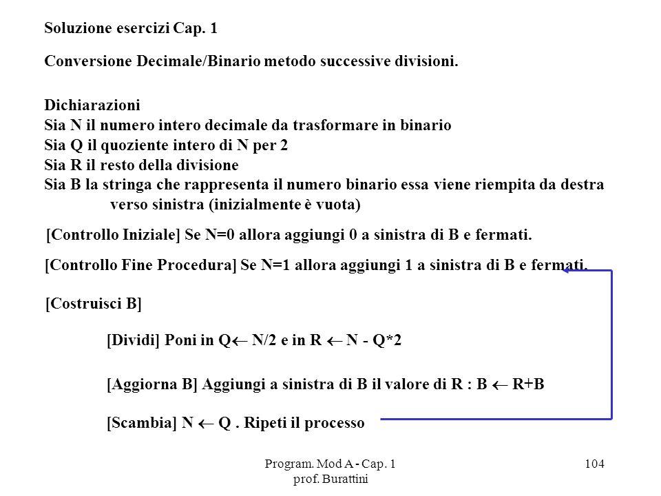 Program. Mod A - Cap. 1 prof. Burattini 104 Soluzione esercizi Cap. 1 Conversione Decimale/Binario metodo successive divisioni. Dichiarazioni Sia N il