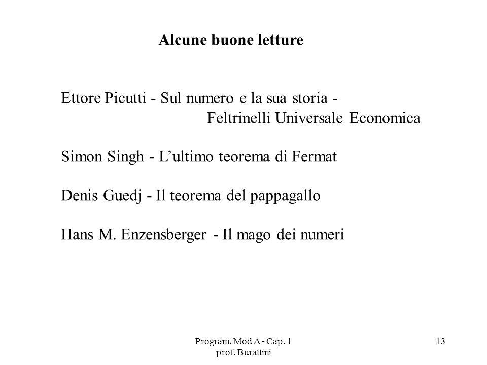 Program. Mod A - Cap. 1 prof. Burattini 13 Alcune buone letture Ettore Picutti - Sul numero e la sua storia - Feltrinelli Universale Economica Simon S