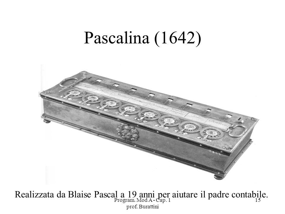 Program. Mod A - Cap. 1 prof. Burattini 15 Pascalina (1642) Realizzata da Blaise Pascal a 19 anni per aiutare il padre contabile.
