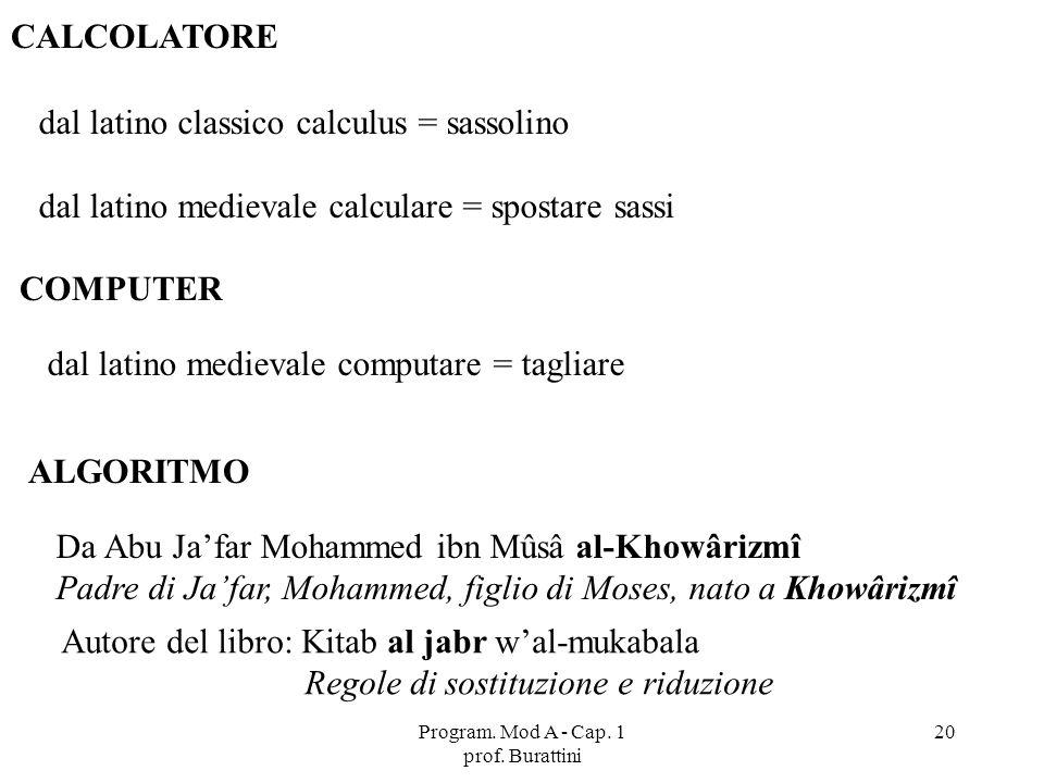 Program. Mod A - Cap. 1 prof. Burattini 20 CALCOLATORE dal latino classico calculus = sassolino dal latino medievale calculare = spostare sassi COMPUT