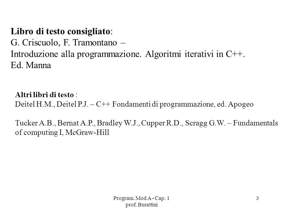 Program. Mod A - Cap. 1 prof. Burattini 3 Libro di testo consigliato: G. Criscuolo, F. Tramontano – Introduzione alla programmazione. Algoritmi iterat
