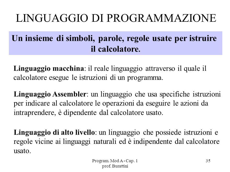 Program. Mod A - Cap. 1 prof. Burattini 35 LINGUAGGIO DI PROGRAMMAZIONE Un insieme di simboli, parole, regole usate per istruire il calcolatore. Lingu