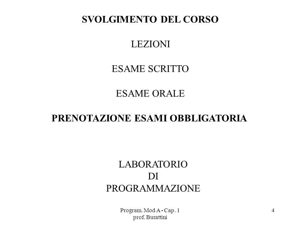 Program. Mod A - Cap. 1 prof. Burattini 4 SVOLGIMENTO DEL CORSO LEZIONI ESAME SCRITTO ESAME ORALE LABORATORIO DI PROGRAMMAZIONE PRENOTAZIONE ESAMI OBB