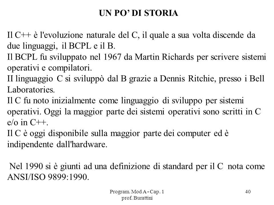 Program. Mod A - Cap. 1 prof. Burattini 40 UN PO DI STORIA Il C++ è l'evoluzione naturale del C, il quale a sua volta discende da due linguaggi, il BC