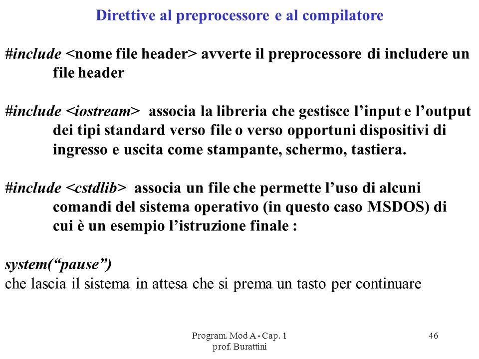 Program. Mod A - Cap. 1 prof. Burattini 46 Direttive al preprocessore e al compilatore #include avverte il preprocessore di includere un file header #