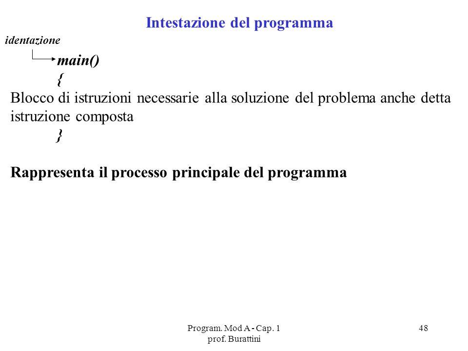 Program. Mod A - Cap. 1 prof. Burattini 48 Intestazione del programma main() { Blocco di istruzioni necessarie alla soluzione del problema anche detta