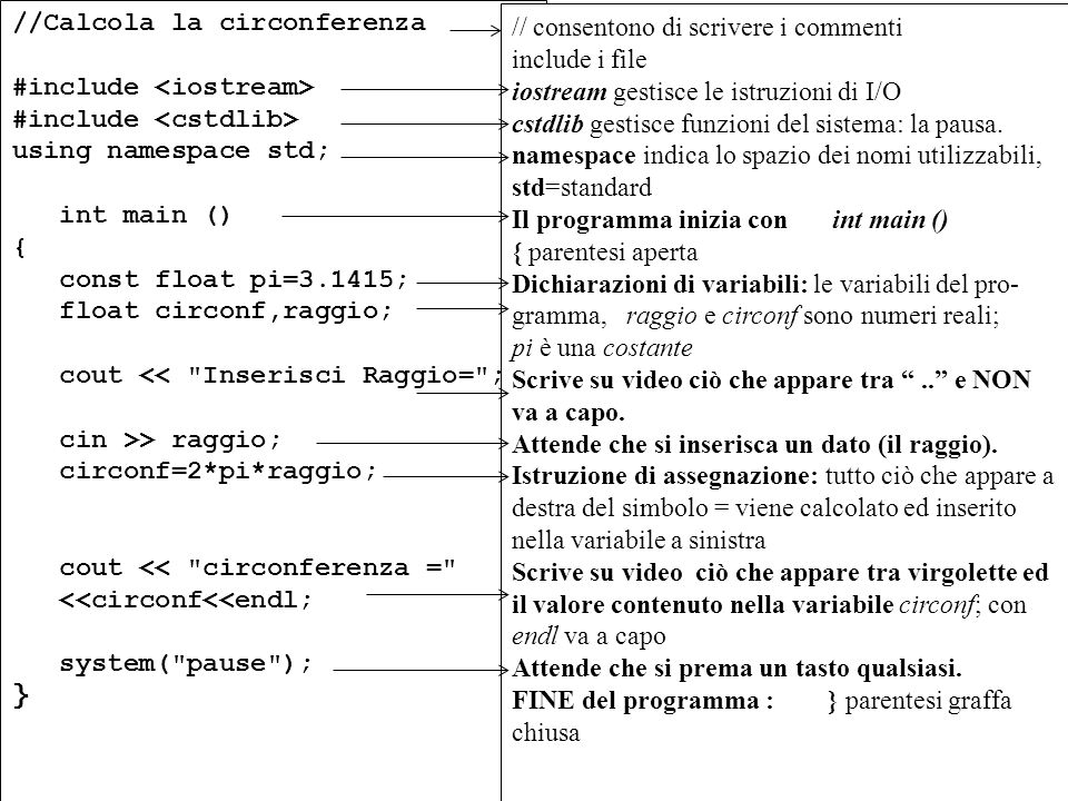 Program. Mod A - Cap. 1 prof. Burattini 49 //Calcola la circonferenza #include using namespace std; int main () { const float pi=3.1415; float circonf
