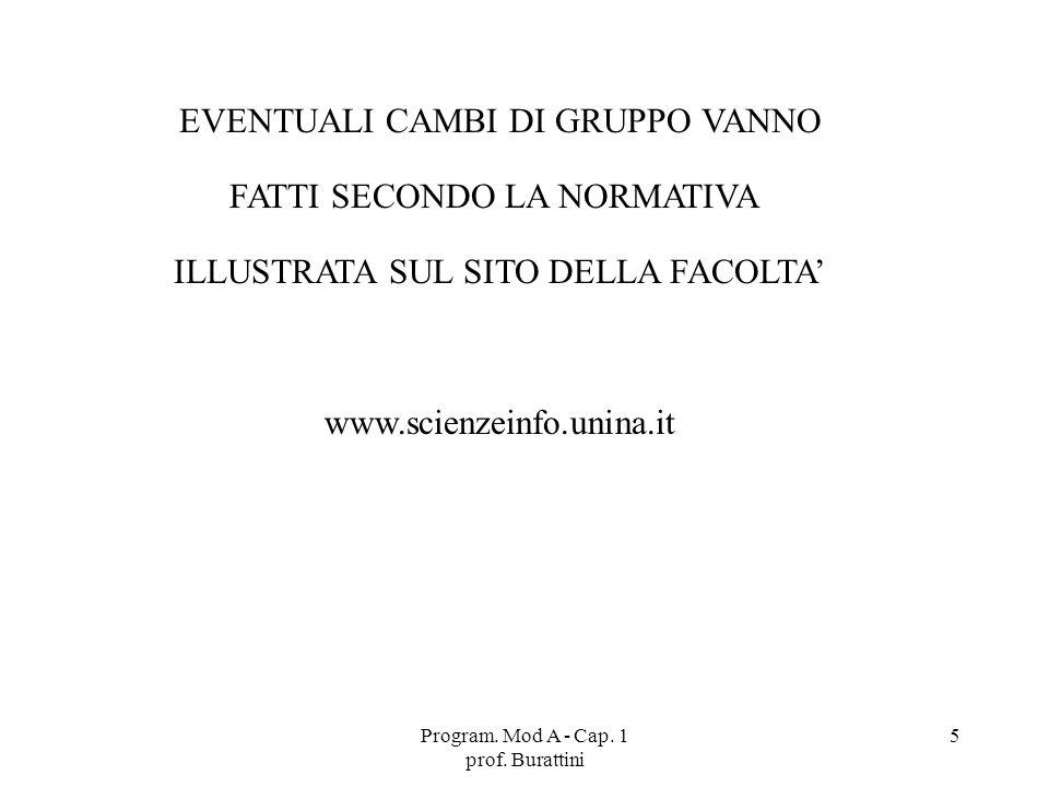Program. Mod A - Cap. 1 prof. Burattini 5 EVENTUALI CAMBI DI GRUPPO VANNO FATTI SECONDO LA NORMATIVA ILLUSTRATA SUL SITO DELLA FACOLTA www.scienzeinfo