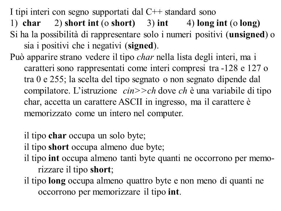 Program. Mod A - Cap. 1 prof. Burattini 58 I tipi interi con segno supportati dal C++ standard sono 1) char 2) short int (o short) 3) int 4) long int