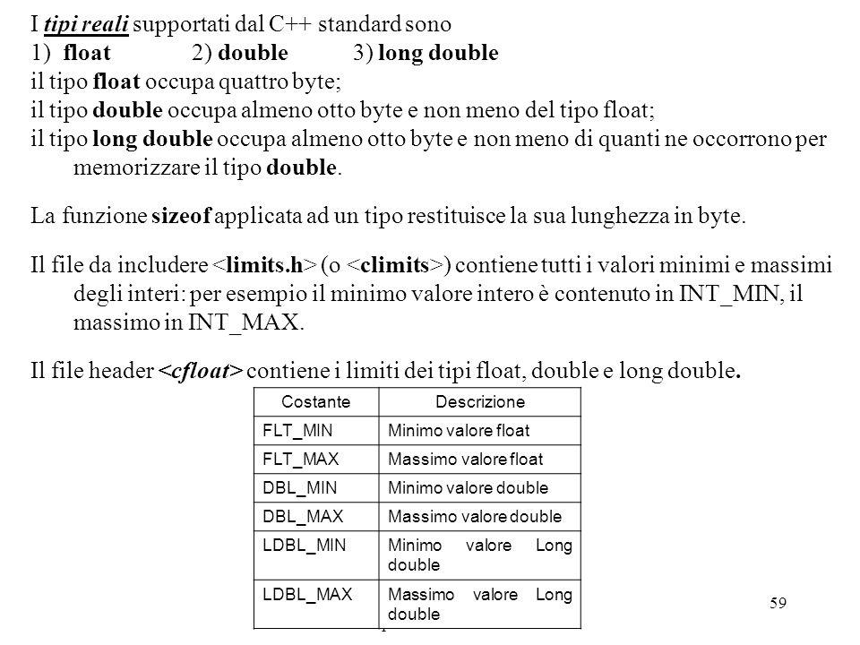Program. Mod A - Cap. 1 prof. Burattini 59 I tipi reali supportati dal C++ standard sono 1) float 2) double 3) long double il tipo float occupa quattr