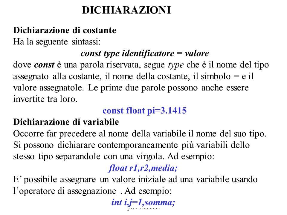 Program. Mod A - Cap. 1 prof. Burattini 64 DICHIARAZIONI Dichiarazione di costante Ha la seguente sintassi: const type identificatore = valore dove co
