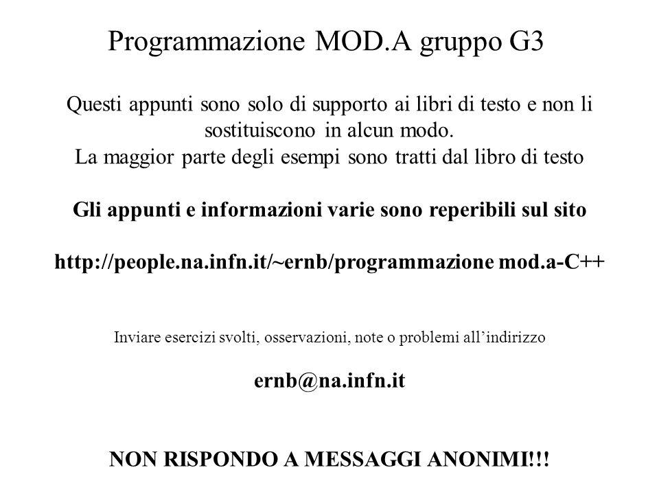 Program. Mod A - Cap. 1 prof. Burattini 7 Programmazione MOD.A gruppo G3 Questi appunti sono solo di supporto ai libri di testo e non li sostituiscono