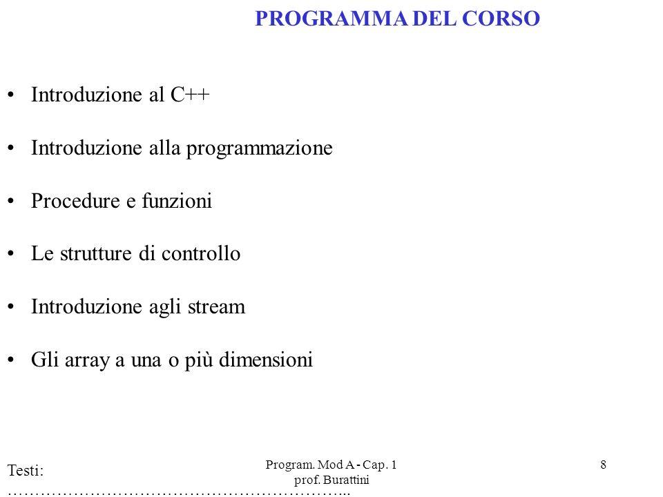 Program. Mod A - Cap. 1 prof. Burattini 8 PROGRAMMA DEL CORSO Introduzione al C++ Introduzione alla programmazione Procedure e funzioni Le strutture d