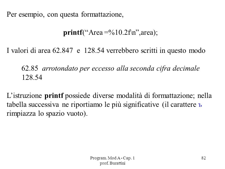 Program. Mod A - Cap. 1 prof. Burattini 82 Per esempio, con questa formattazione, printf(Area =%10.2f\n,area); I valori di area 62.847 e 128.54 verreb