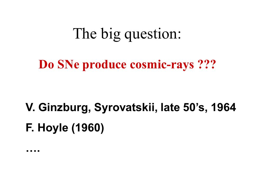 The big question: Do SNe produce cosmic-rays . V.