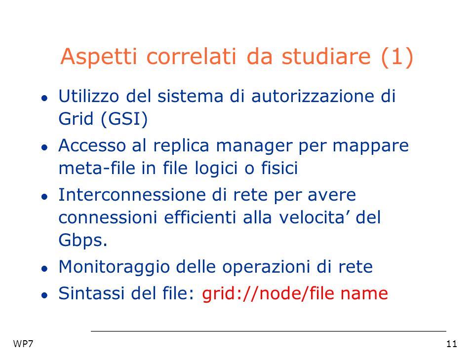 WP711 Aspetti correlati da studiare (1) l Utilizzo del sistema di autorizzazione di Grid (GSI) l Accesso al replica manager per mappare meta-file in file logici o fisici l Interconnessione di rete per avere connessioni efficienti alla velocita del Gbps.