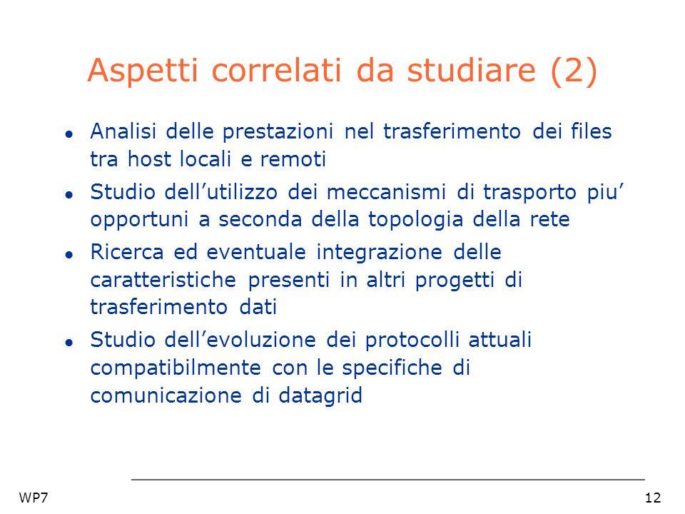 WP712 Aspetti correlati da studiare (2) l Analisi delle prestazioni nel trasferimento dei files tra host locali e remoti l Studio dellutilizzo dei mec