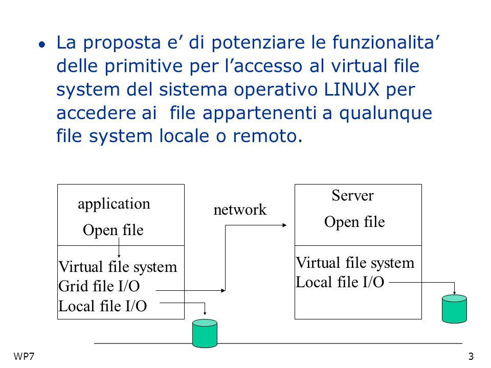 WP73 l La proposta e di potenziare le funzionalita delle primitive per laccesso al virtual file system del sistema operativo LINUX per accedere ai file appartenenti a qualunque file system locale o remoto.