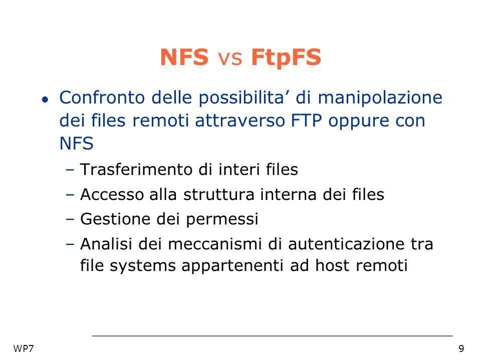 WP79 NFS vs FtpFS l Confronto delle possibilita di manipolazione dei files remoti attraverso FTP oppure con NFS –Trasferimento di interi files –Access