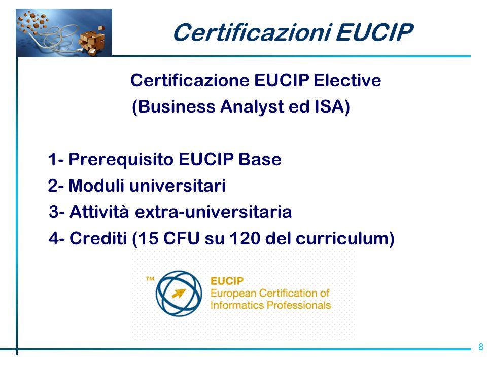 8 Certificazioni EUCIP Certificazione EUCIP Elective (Business Analyst ed ISA) 1- Prerequisito EUCIP Base 2- Moduli universitari 3- Attività extra-universitaria 4- Crediti (15 CFU su 120 del curriculum)