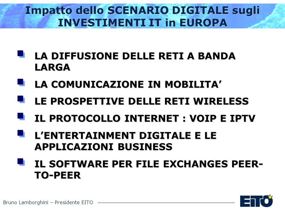 Bruno Lamborghini – Presidente EITO Impatto dello SCENARIO DIGITALE sugli INVESTIMENTI IT in EUROPA LA DIFFUSIONE DELLE RETI A BANDA LARGA LA COMUNICA
