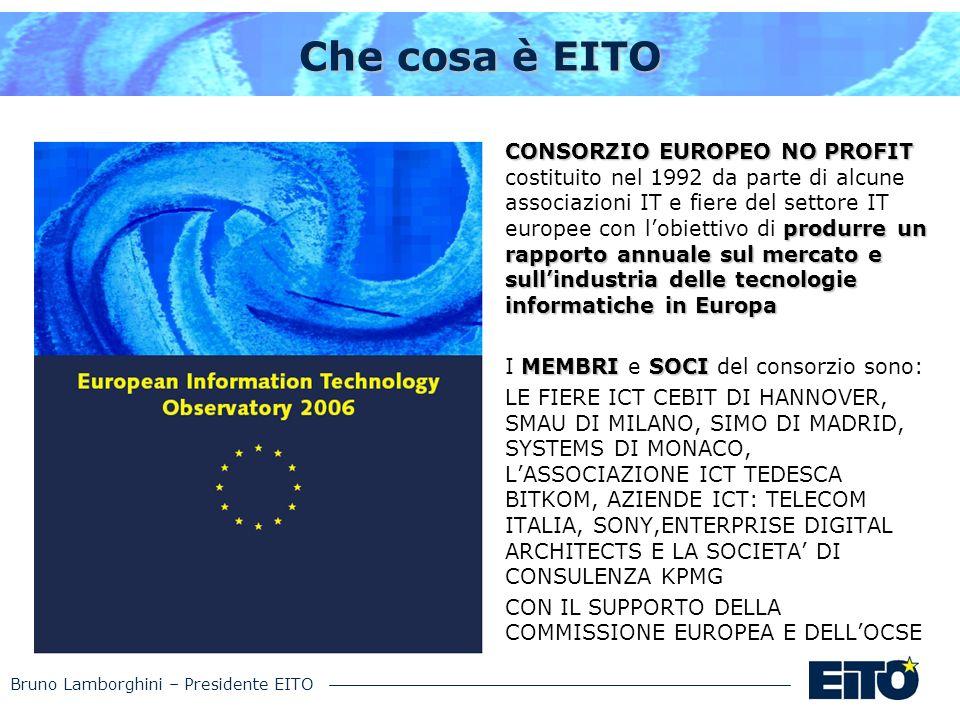 Bruno Lamborghini – Presidente EITO Che cosa è EITO CONSORZIO EUROPEO NO PROFIT produrre un rapporto annuale sul mercato e sullindustria delle tecnolo