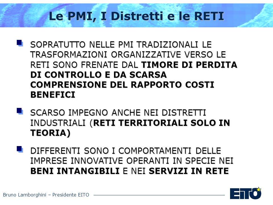 Bruno Lamborghini – Presidente EITO Le PMI, I Distretti e le RETI SOPRATUTTO NELLE PMI TRADIZIONALI LE TRASFORMAZIONI ORGANIZZATIVE VERSO LE RETI SONO