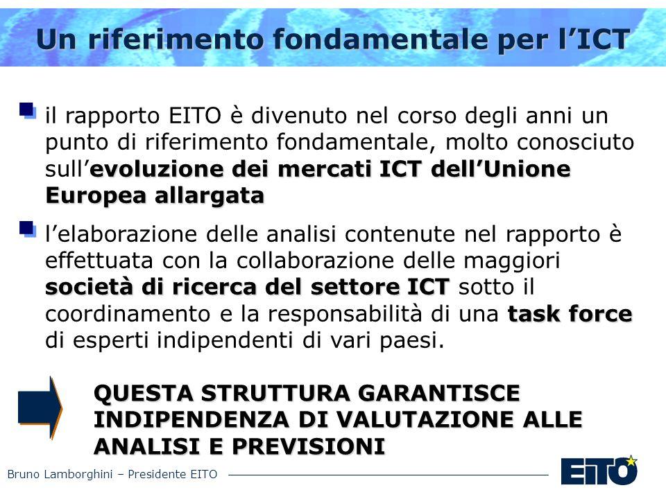 Bruno Lamborghini – Presidente EITO Un riferimento fondamentale per lICT evoluzionedei mercati ICT dellUnione Europea allargata il rapporto EITO è div