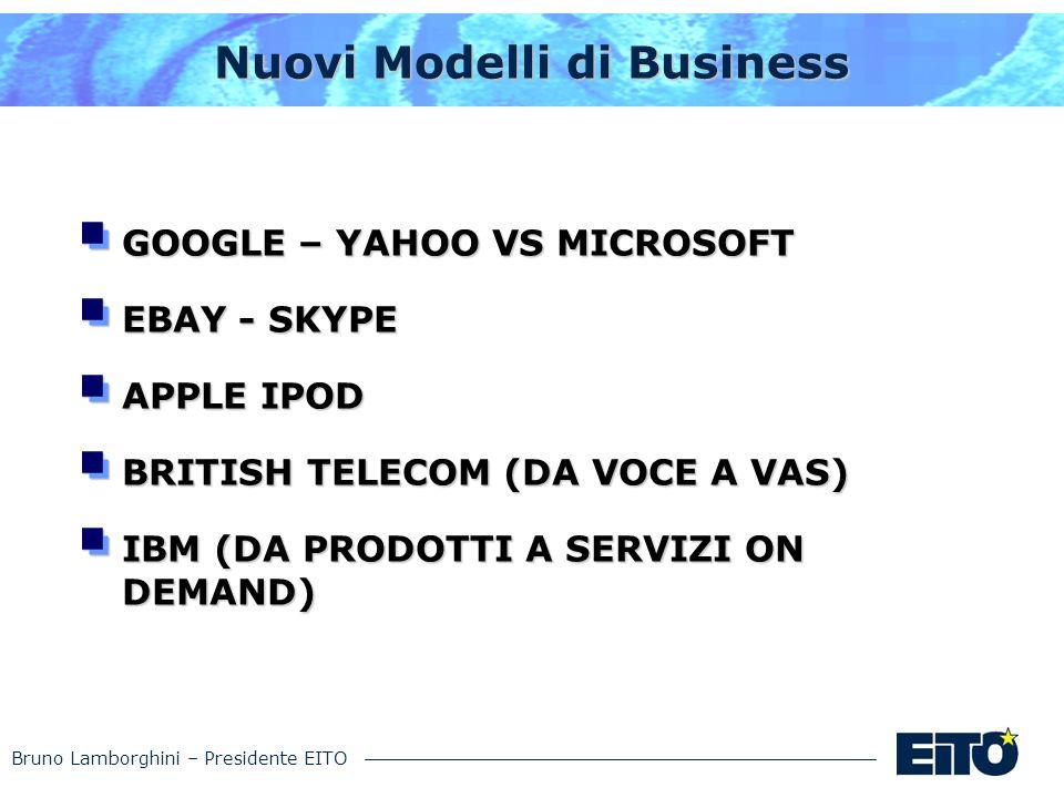 Bruno Lamborghini – Presidente EITO Nuovi Modelli di Business GOOGLE – YAHOO VS MICROSOFT EBAY - SKYPE APPLE IPOD BRITISH TELECOM (DA VOCE A VAS) IBM