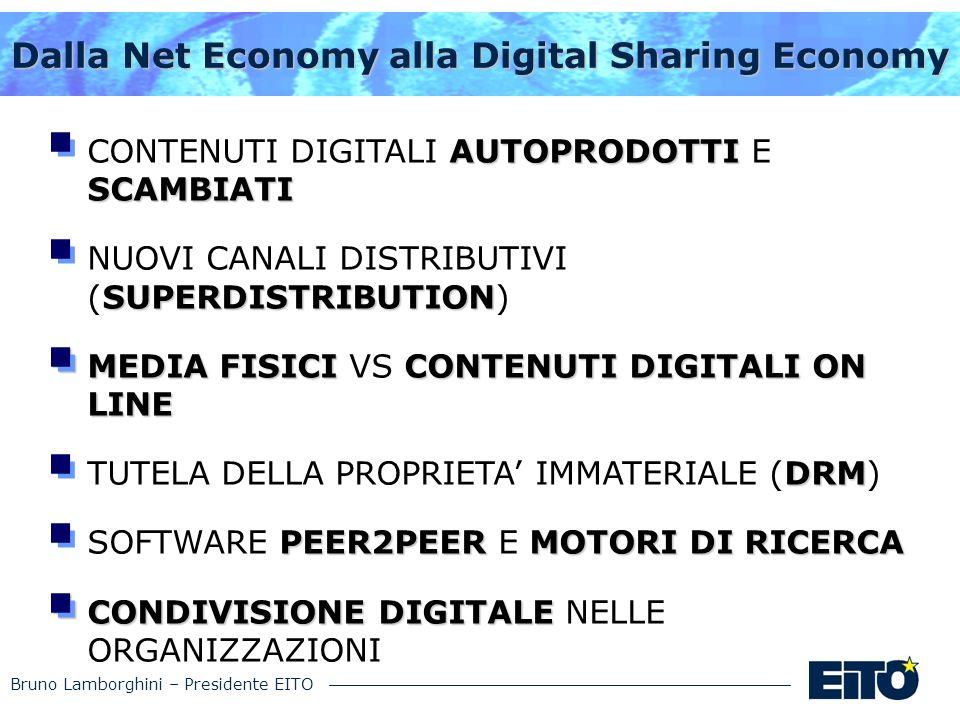 Bruno Lamborghini – Presidente EITO Dalla Net Economy alla Digital Sharing Economy AUTOPRODOTTI SCAMBIATI CONTENUTI DIGITALI AUTOPRODOTTI E SCAMBIATI