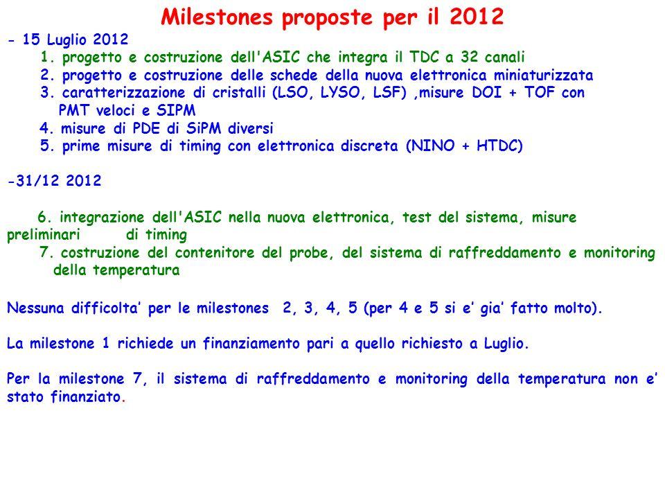 Milestones proposte per il 2012 - 15 Luglio 2012 1. progetto e costruzione dell'ASIC che integra il TDC a 32 canali 2. progetto e costruzione delle sc