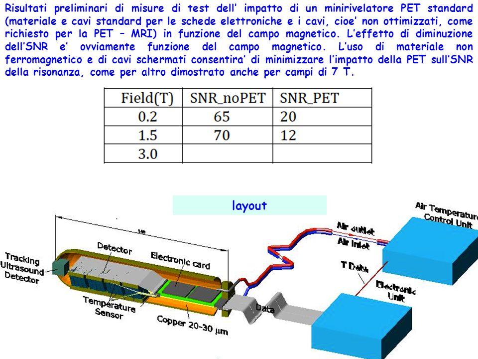 Risultati preliminari di misure di test dell impatto di un minirivelatore PET standard (materiale e cavi standard per le schede elettroniche e i cavi,