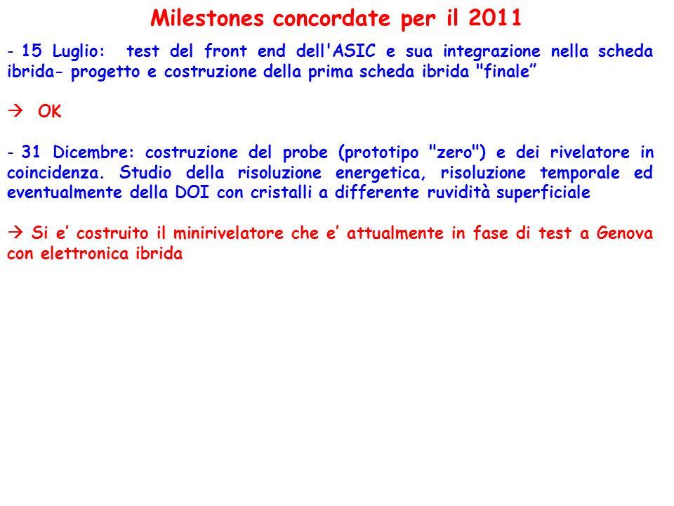 Milestones concordate per il 2011 - 15 Luglio: test del front end dell'ASIC e sua integrazione nella scheda ibrida- progetto e costruzione della prima