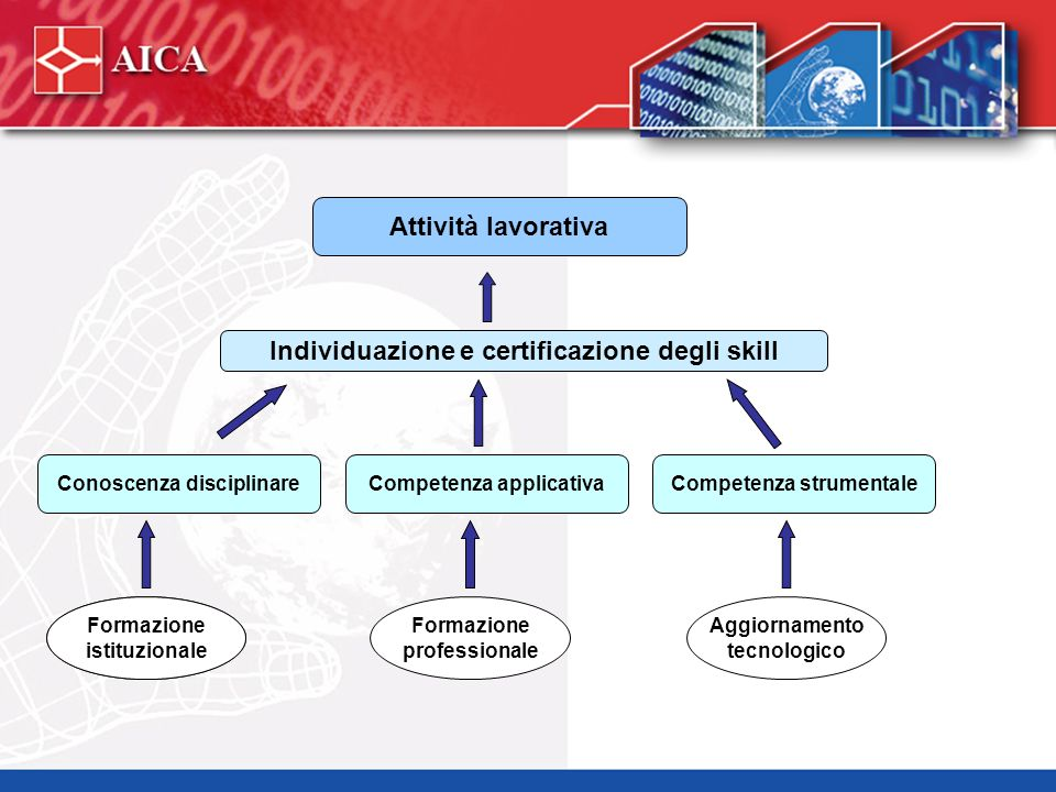 Attività lavorativa Individuazione e certificazione degli skill Conoscenza disciplinareCompetenza applicativaCompetenza strumentale Formazione istituz