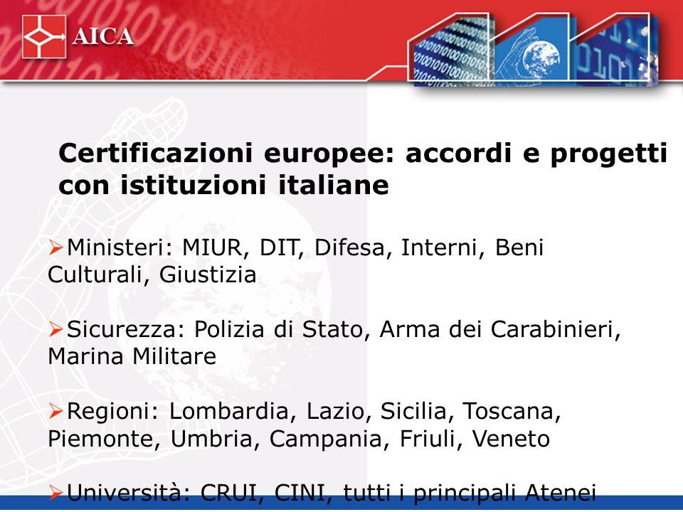 Certificazioni europee: accordi e progetti con istituzioni italiane Ministeri: MIUR, DIT, Difesa, Interni, Beni Culturali, Giustizia Sicurezza: Polizi
