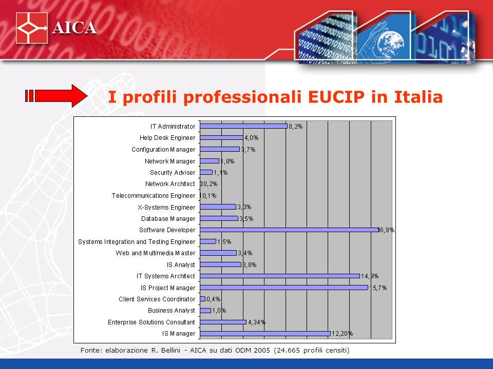 I profili professionali EUCIP in Italia Fonte: elaborazione R. Bellini - AICA su dati ODM 2005 (24.665 profili censiti)