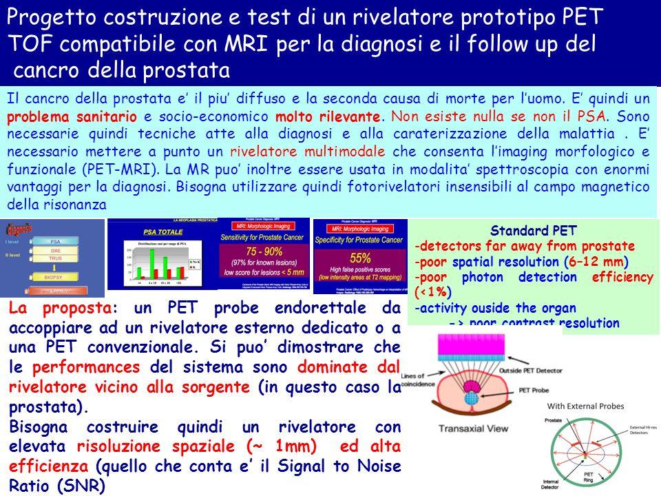 Progetto costruzione e test di un rivelatore prototipo PET TOF compatibile con MRI per la diagnosi e il follow up del cancro della prostata Il cancro della prostata e il piu diffuso e la seconda causa di morte per luomo.