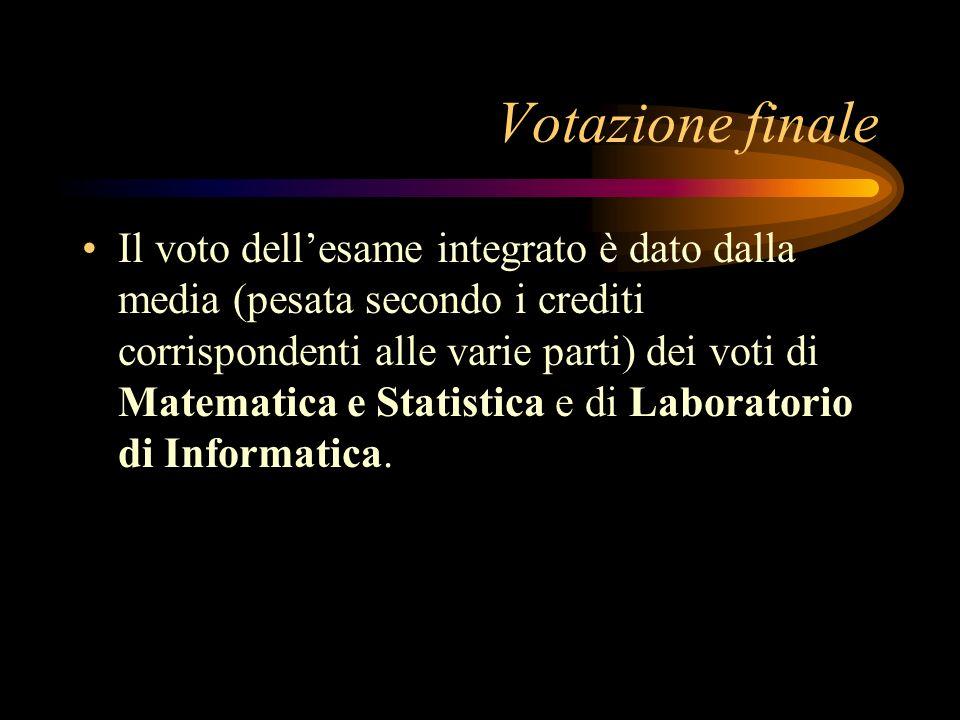 Votazione finale Il voto dellesame integrato è dato dalla media (pesata secondo i crediti corrispondenti alle varie parti) dei voti di Matematica e Statistica e di Laboratorio di Informatica.