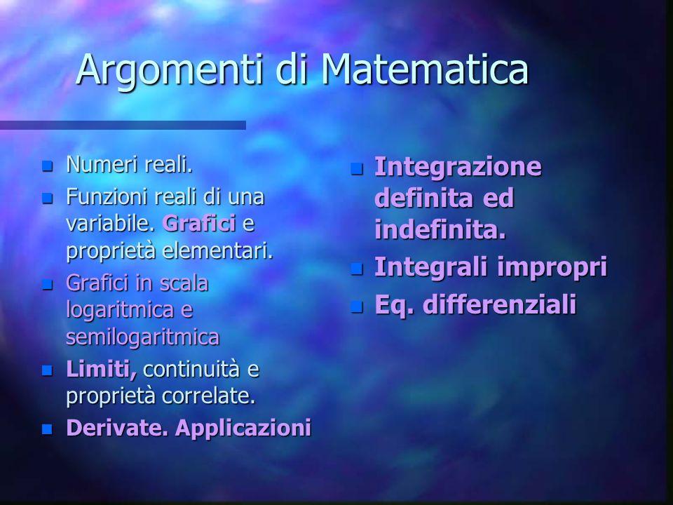 Argomenti di Matematica n Numeri reali.n Funzioni reali di una variabile.