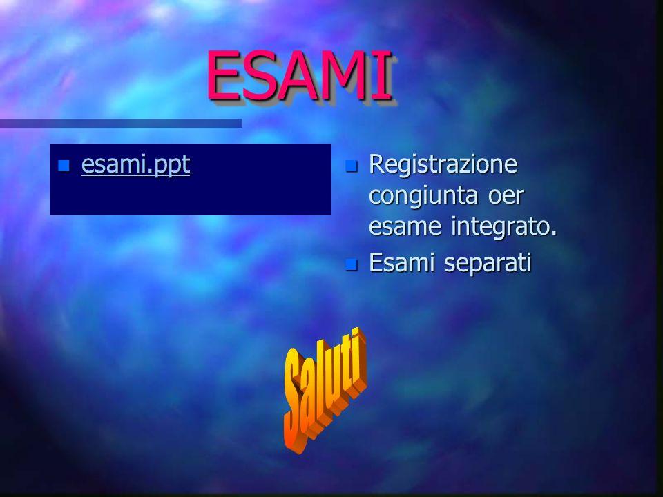 ESAMIESAMI n esami.ppt esami.ppt esami.ppt n Registrazione congiunta oer esame integrato.