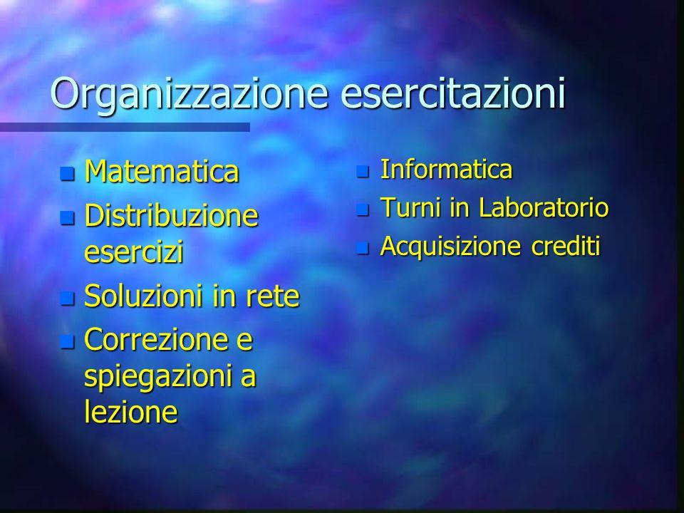 Organizzazione esercitazioni n Matematica n Distribuzione esercizi n Soluzioni n Soluzioni in rete n Correzione n Correzione e spiegazioni a lezione n Informatica n Turni in Laboratorio n Acquisizione crediti