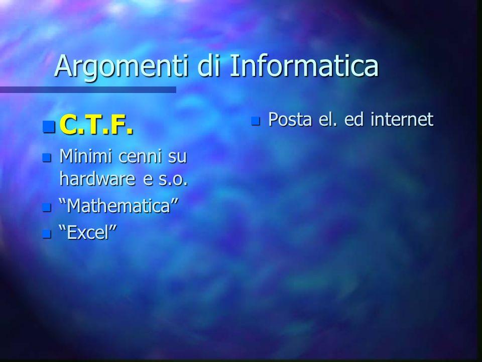 Argomenti di Informatica n C.T.F.n Minimi cenni su hardware e s.o.