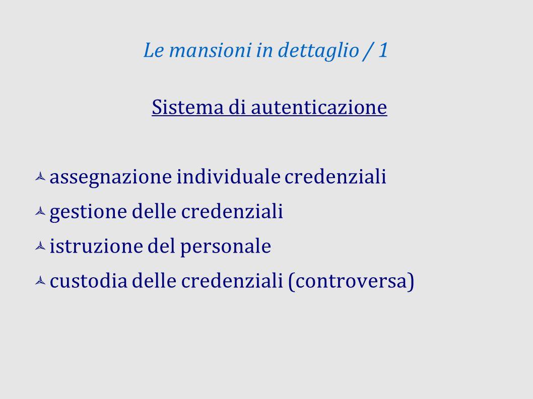 Le mansioni in dettaglio / 1 Sistema di autenticazione assegnazione individuale credenziali gestione delle credenziali istruzione del personale custod